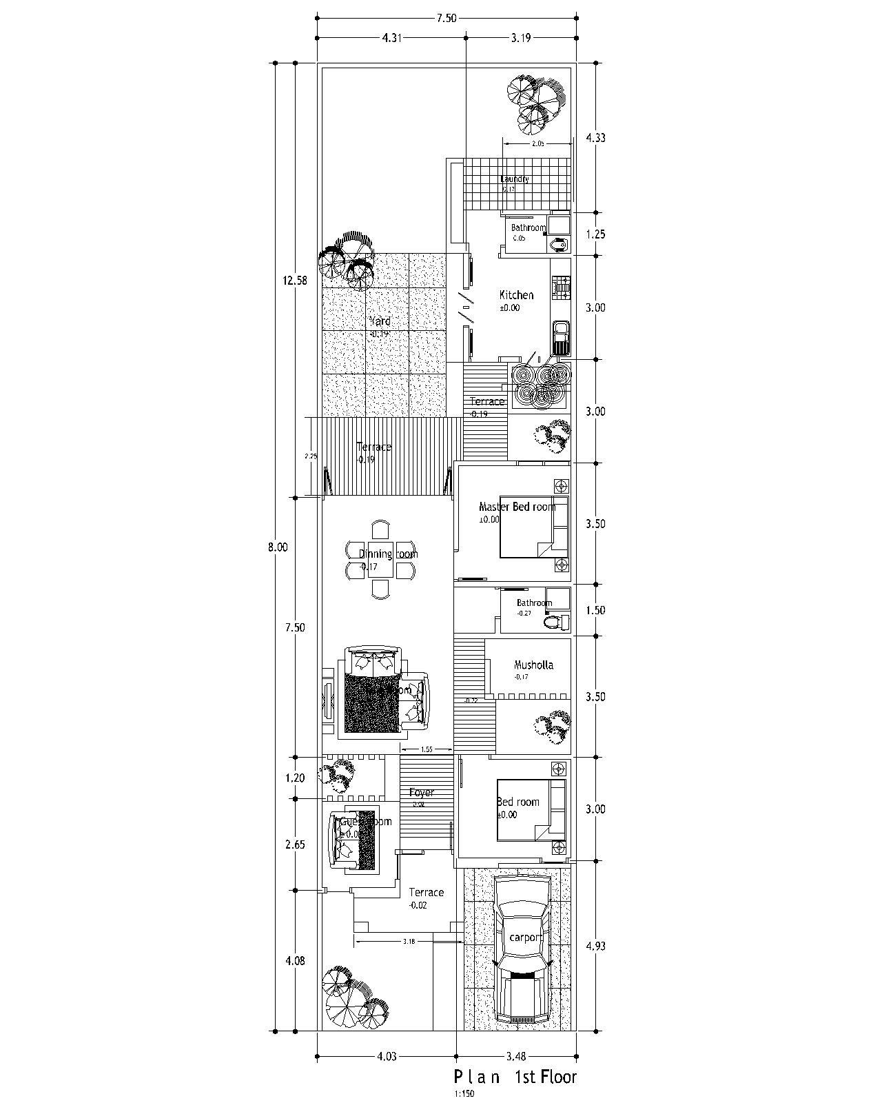 Denah Rumah Ukuran Panjang 9 Lebar 6 denah rumah lebar 5 meter panjang 9 meter -