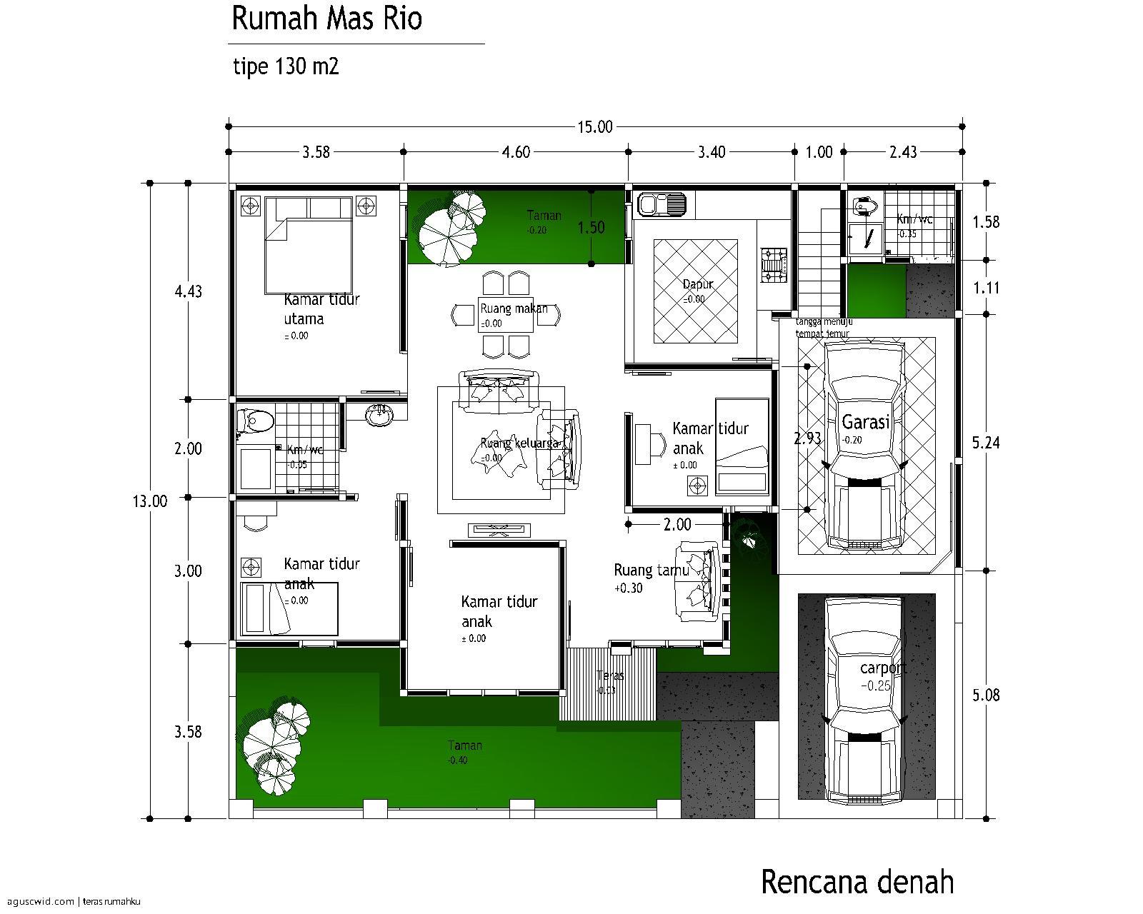 Denah Rumah Minimalis 1 Lantai Ukuran 10 X 15