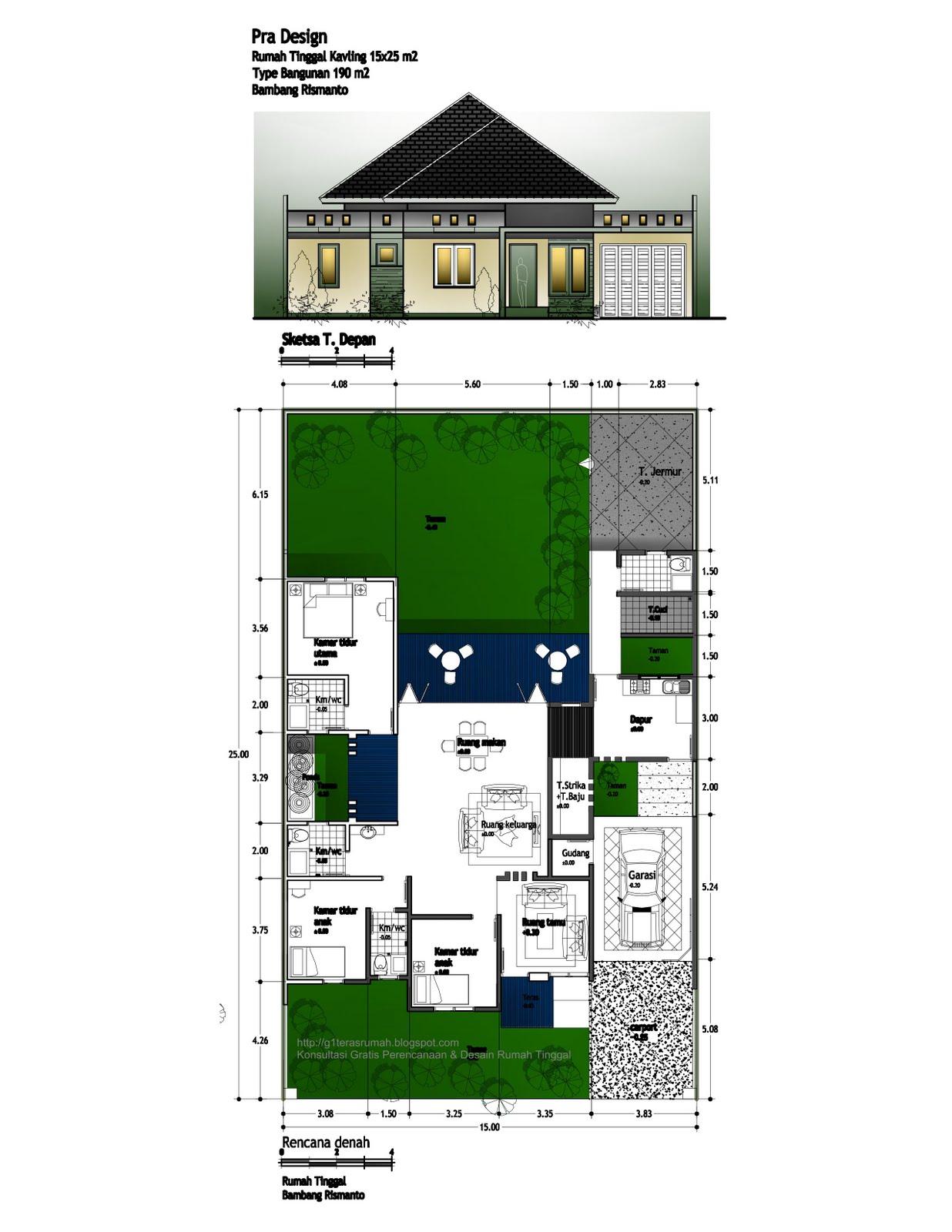 Rumah Tinggal Luas 190 m2 di lahan 15—25 m2 order Bambang